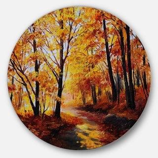 Designart 'Forest In Autumn' Landscape Glossy Metal Wall Art