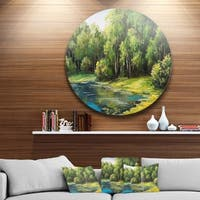 Designart 'Summer Day Lake In Forest' Landscape Glossy Metal Wall Art