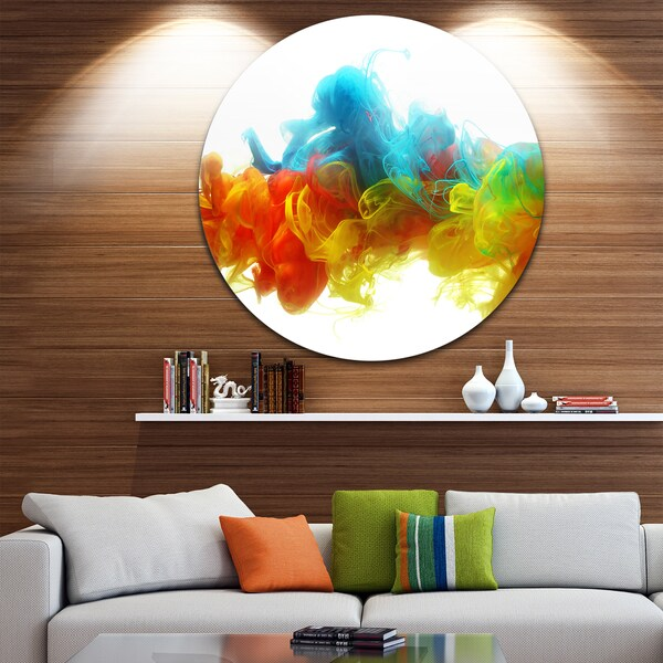 Designart 'Colorful Ink In Water' Abstract Glossy Metal Wall Art