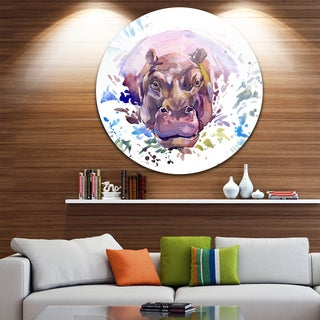 Designart 'Hippopotamus Watercolor' Animal Glossy Metal Wall Art
