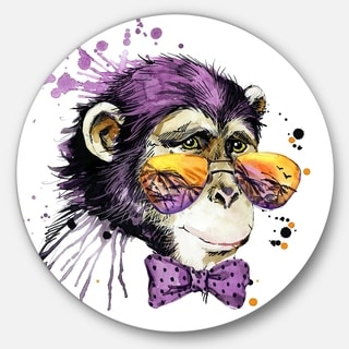 Designart 'Cool Monkey' Animal Glossy Metal Wall Art