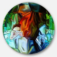 Designart 'Abstract Stained Glass Design' Abstract Glossy Metal Wall Art