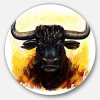 Designart 'Fierce Bull Illustration' Animal Glossy Large Disk Metal Wall Art