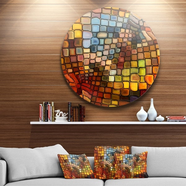 Designart 'Dreaming Of Stained Glass' Abstract Glossy Metal Wall Art