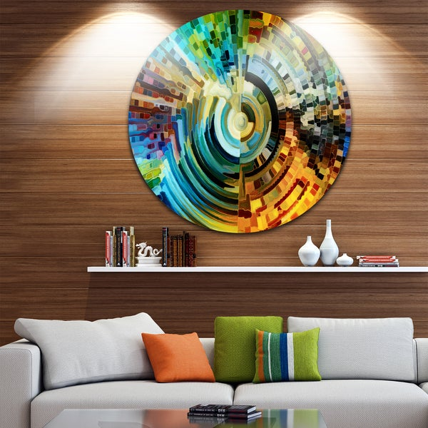 Overstock Wall Art designart 'paths of stained glass' abstract glossy metal wall art