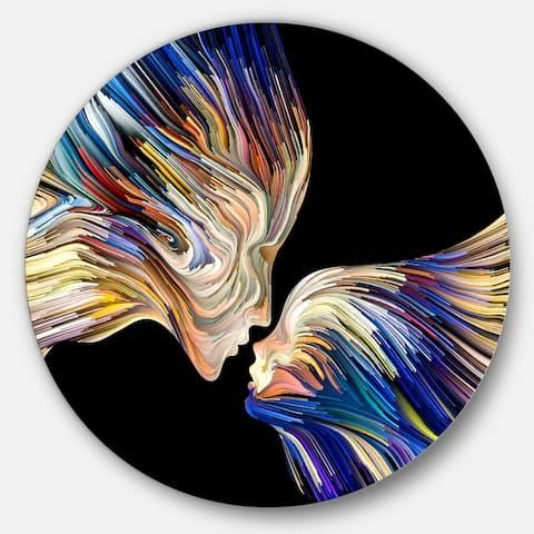 Designart 'Metaphorical Mind Painting' Sensual Glossy Circle Metal Wall Art