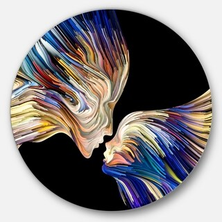 Designart 'Metaphorical Mind Painting' Sensual Glossy Circle Metal Wall Art