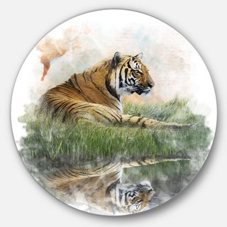 Designart 'Relaxing Tiger' Animal Glossy Metal Wall Art