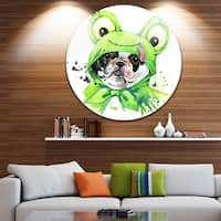 Designart 'French Bulldog Illustration' Animal Glossy Metal Wall Art