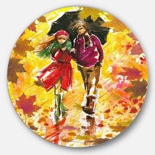 Designart 'Autumn Walk of Couple' Landscape Glossy Large Disk Metal Wall Art
