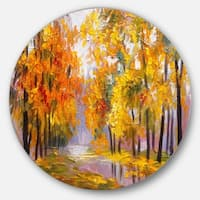 Designart 'Full of Fallen Leaves' Landscape Glossy Large Disk Metal Wall Art
