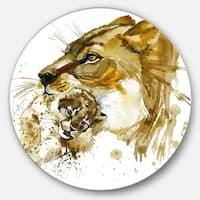 Designart 'Lioness And Cub Illustration' Animal Glossy Metal Wall Art