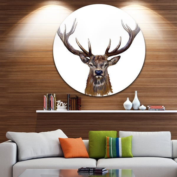 Designart 'Deer Head in Front Illustration' Animal Glossy Large Disk Metal Wall Art