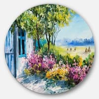 Designart 'Garden near the House' Landscape Glossy Large Disk Metal Wall Art