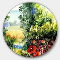 Designart 'Watercolor Landscape with Flowers' Landscape Glossy Large Disk Metal Wall Art