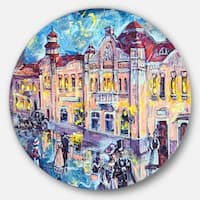 Designart 'City At Night With People' Cityscape Glossy Metal Wall Art