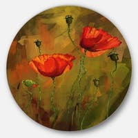 Designart 'Watercolor Poppy Flowers' Floral Glossy Large Disk Metal Wall Art
