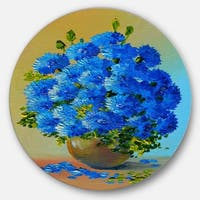 Designart 'A Bouquet of Blue Flowers' Floral Glossy Large Disk Metal Wall Art