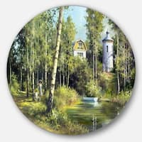 Designart 'The River in the Spring' Landscape Glossy Large Disk Metal Wall Art