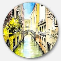 Designart 'Canal in Venice' Cityscape Glossy Large Disk Metal Wall Art
