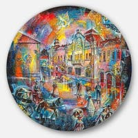 Designart 'Night City With People' Cityscape Glossy Metal Wall Art