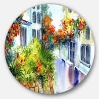 Designart 'Flowers near the House' Landscape Glossy Large Disk Metal Wall Art