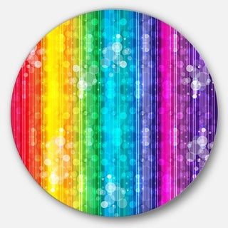Designart 'Rainbow Effects Illustration' Abstract Glossy Large Disk Metal Wall Art