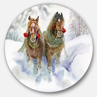 Designart 'Horses Running In Winter' Animal Glossy Metal Wall Art
