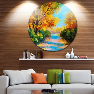 Designart 'Autumn Forest with Colorful River' Landscape Glossy Large Disk Metal Wall Art