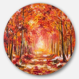 Designart 'Autumn Forest in Red Shade' Landscape Glossy Large Disk Metal Wall Art