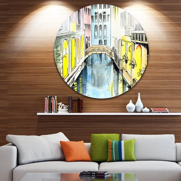 Designart 'Canal In Venice' Cityscape Glossy Metal Wall Art