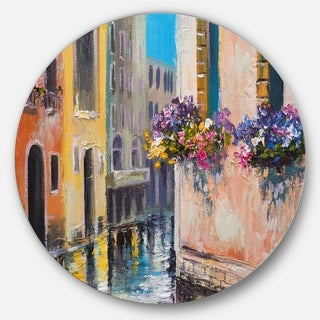 Designart 'Canal in Venice with Flowers' Cityscape Glossy Large Disk Metal Wall Art