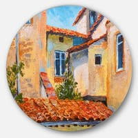 Designart 'European Rooftops' Cityscape Glossy Large Disk Metal Wall Art