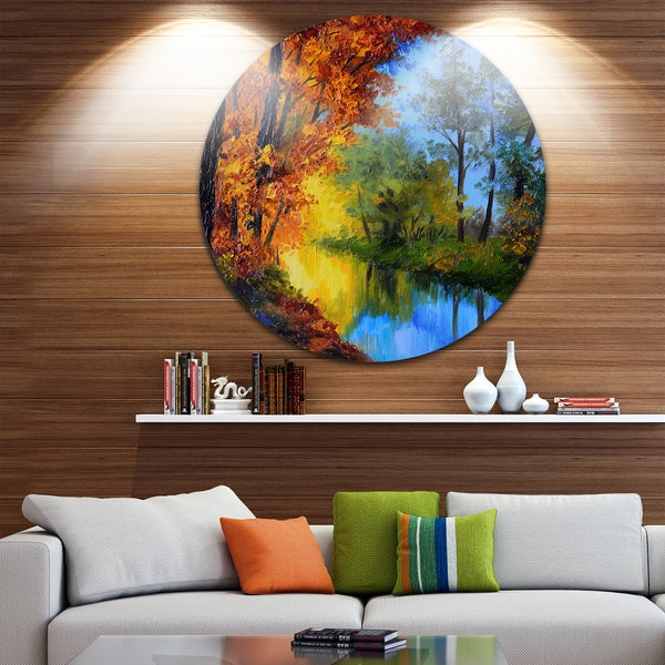 Designart 'Autumn Reflecting in River' Landscape Glossy Large Disk Metal Wall Art