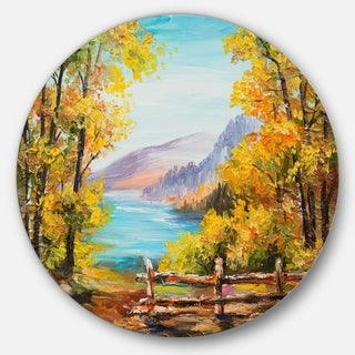 Designart 'Mountain Lake in the Fall' Landscape Glossy Large Disk Metal Wall Art
