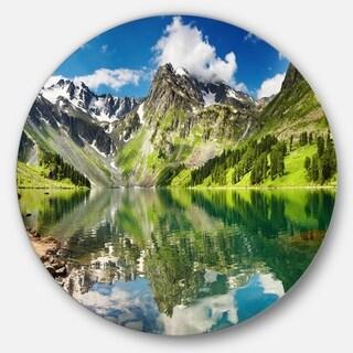 Designart 'Reflecting Mountain Lake' Landscape Glossy Metal Wall Art