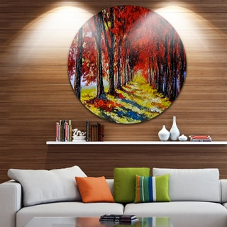 Designart 'Autumn Forest with Red Leaves' Landscape Glossy Large Disk Metal Wall Art