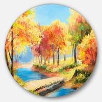 Designart 'Wooden Bridge in Colorful Forest' Landscape Glossy Large Disk Metal Wall Art