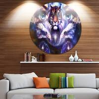 Designart 'Tiger, Eagles and Woman Eyes Collage' Animal Glossy Metal Wall Art
