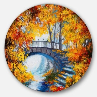 Designart 'Fall Forest with a Bridge' Landscape Glossy Large Disk Metal Wall Art