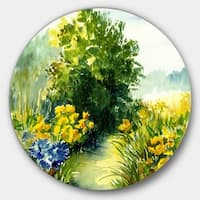 Designart 'Watercolor Greenery' Landscape Glossy Large Disk Metal Wall Art