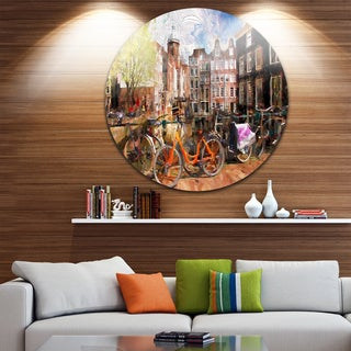 Designart 'Amsterdam City Artwork' Landscape Large Glossy Large Disk Metal Wall Art
