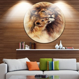 Designart 'Loving Lioness' Animal Glossy Metal Wall Art