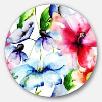 Designart 'Watercolor Flowers Everywhere' Floral Glossy Large Disk Metal Wall Art