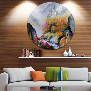 Designart 'House in the Mountains' Landscape Glossy Large Disk Metal Wall Art