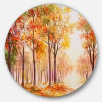 Designart 'Autumn Everywhere Forest' Landscape Glossy Metal Wall Art