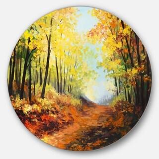 Designart 'Autumn Forest Pathway' Landscape Glossy Metal Wall Art