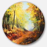 Designart 'Autumn Forest Pathway' Landscape Glossy Metal Wall Art