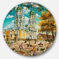 Designart 'Old Church' Landscape Glossy Large Disk Metal Wall Art