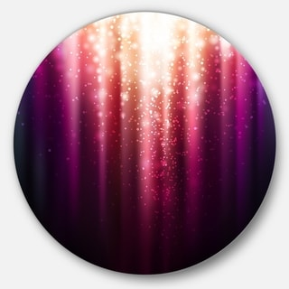 Designart 'Purple with Magic Light' Abstract Glossy Large Disk Metal Wall Art